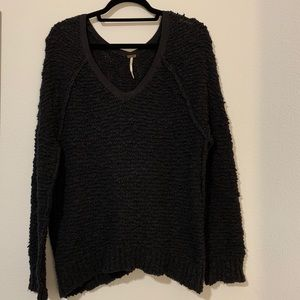 Free People Navy Finders Keepers V-Neck Sweater